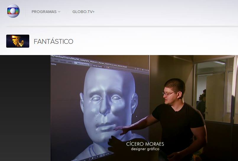 Matéria apresentada no programa Fantástico, Rede Globo, Brasil: http://g1.globo.com/fantastico/noticia/2014/06/designer-brasileiro-reconstroi-face-sem-saber-que-era-de-santo-antonio.html