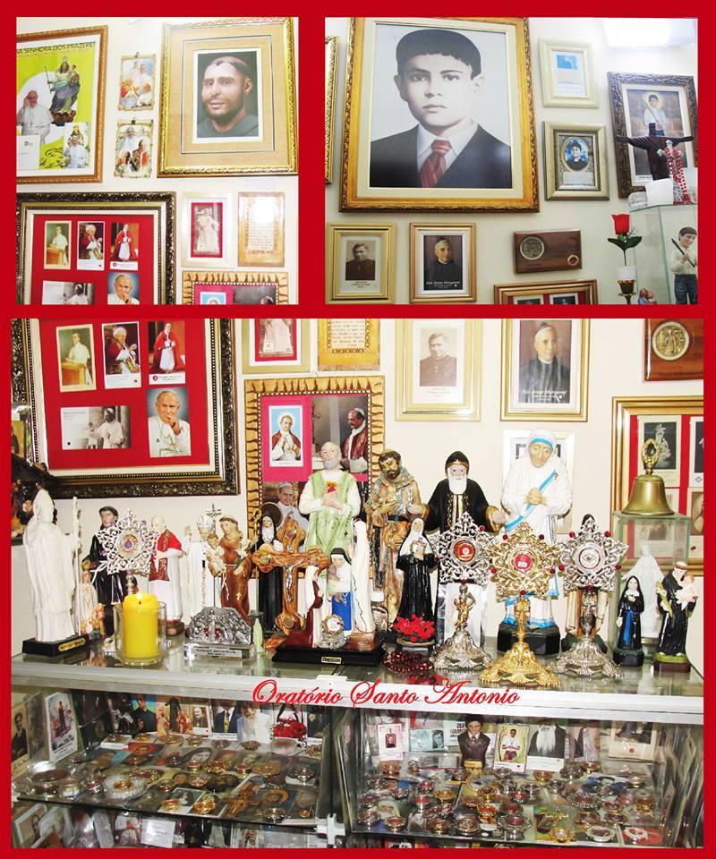 Oratório de José Luís Lira, com a imagem da face de Santo Antônio reconstruída.