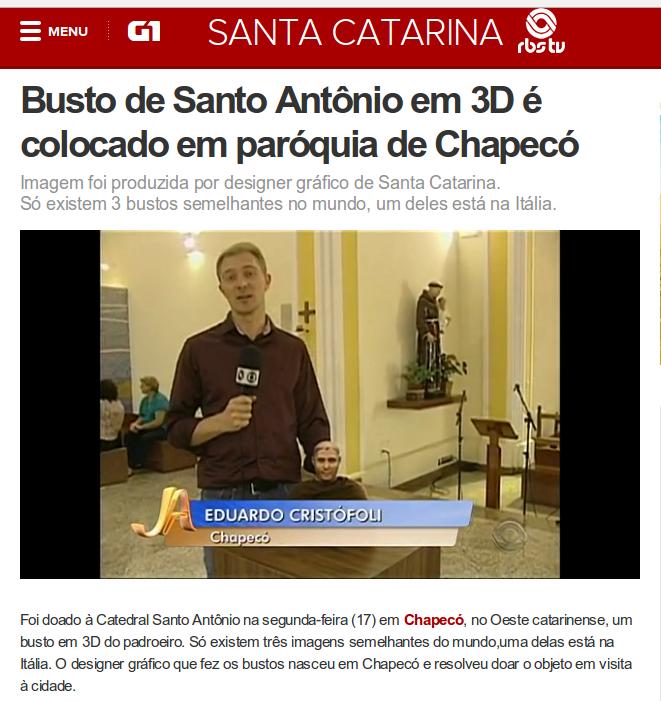 Matéria no G1 da Globo sobre a doação do busto à Catedral Santo Antônio