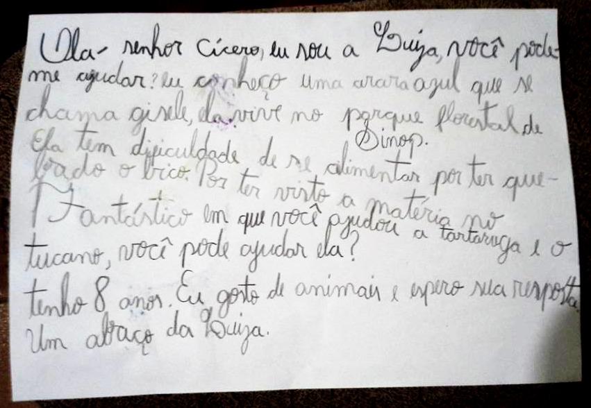 Carta escrita por Luiza, 8 anos
